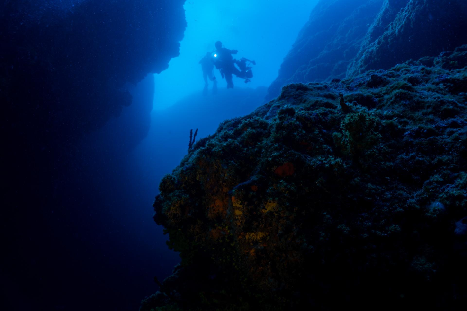 Divers in an underwater canyon in Croatia Rab Island